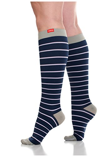 VIM & VIGR Womens 15-20 mmHg Compression Socks: Nautical Stripes - Blue & Lavender (Nylon) (Wide Calf)
