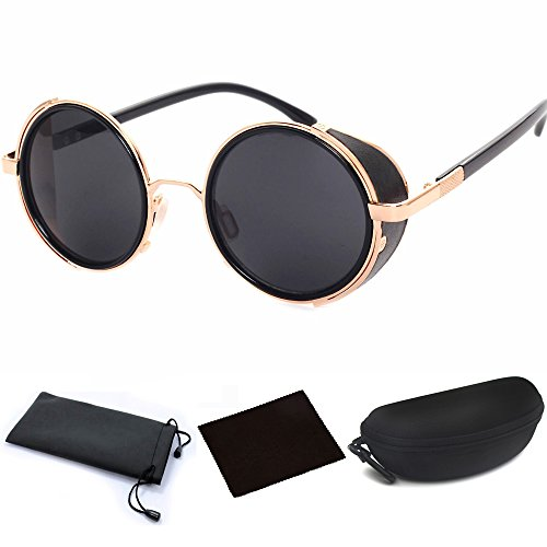 Classic Design Retro Vintage Round Circle Mirror Lens Sunglasses Steampunk Cyber Goggles Binders with Black Case (Golden Metal Frame & Black Reflection Lens, One Size fit - Sunglasses Goggle Steampunk
