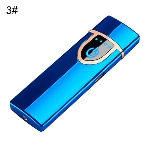 CHoppyWAVE Rechargeable Electric Cigarette Lighter,Touch Sensor USB Rechargeable,Smart touch Windproof Flameless Lighter Blue