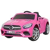 Uenjoy 12V Licensed Mercedes-Benz SL500 Kids Ride On Car Single Seat Electric Cars for Kids w/Remote Control & Music & Spring Suspension & Safety Lock Pink