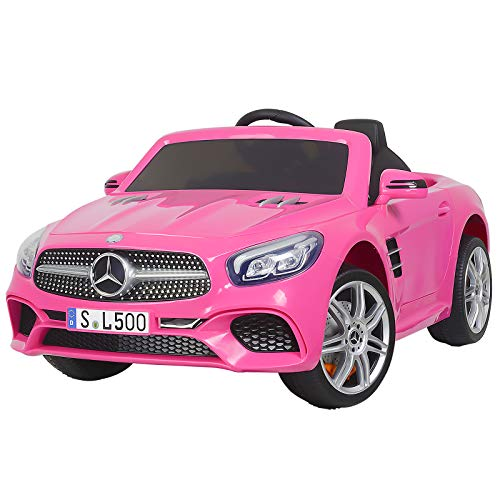 Uenjoy 12V Licensed Mercedes-Benz SL500 Kids Ride On Car Single Seat Electric Cars for Kids w/Remote Control & Music & Spring Suspension & Safety Lock Pink