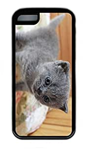 iPhone 5C Case, Personalized Protective Rubber Soft TPU Black Edge Case for iphone 5C - Little Cat Cover by lolosakes