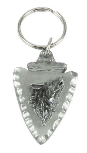 Pewter Key Ring - Wolf on Arrowhead