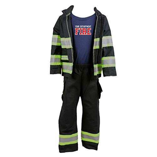 Fully Involved Stitching Firefighter Personalized Black 3-Piece Toddler Outfit (2T)