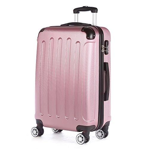 2045 Hartschale Koffer Trolley Reisekoffer einzelgröße XL-L-M in 10 Farben (L, Pink)
