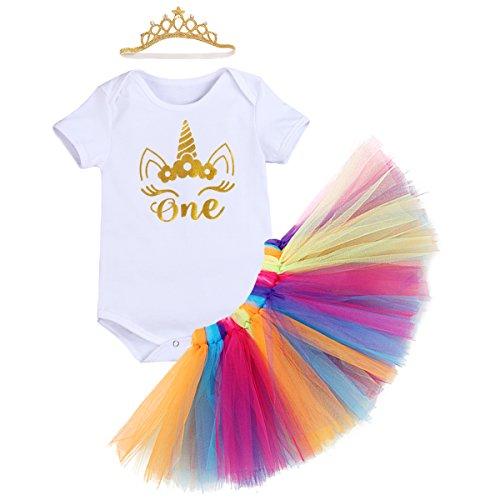 FYMNSI Baby Girls 1st Birthday Cake Smash 3Pcs Outfits Romper Rainbow Tutu Skirt Crown Unicorn Bowknot Headband -