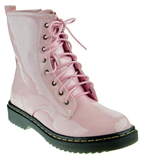 Soho Jade 1 Womens Zipper Patent Military Lace Up Boots Pink 8
