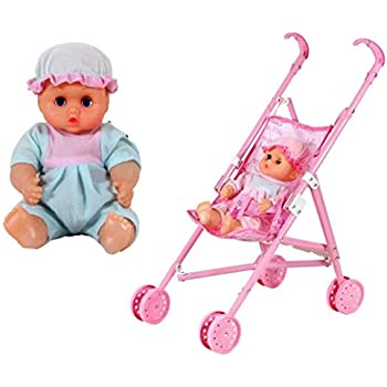 WensLTD My First Doll Stroller&Baby Toy Precious Toys Foldable Hood Gift Girls