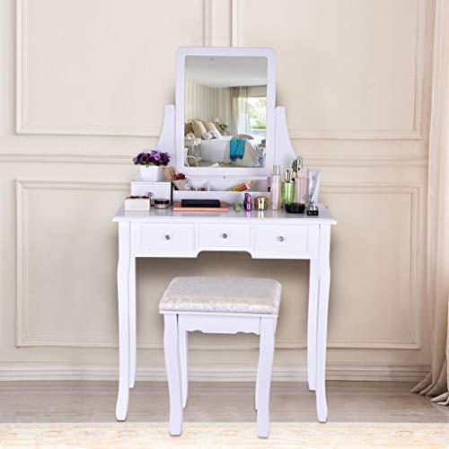 Sonmer Vanity Set with Mirror, Cushioned Stool, Storage Shelves, Drawers Dividers ,3 Style Optional, Shipped from US - Two Day Shipping (#1, White) by Sonmer (Image #2)