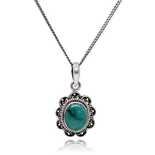 (Luna Azure Colored Gem Turquoise Vintage Sterling Silver Pendant Necklace 18