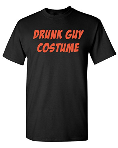 Drunk Guy Costume Funny Halloween Adult T-Shirt Tee (XXX-Large, Black w/Orange Print) -