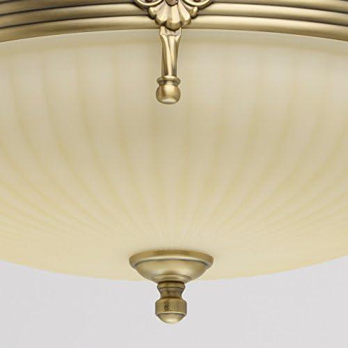 MW-Light 317011504 Deckenleuchte Klassisch Antik Bronze Messingfarbig verdrehte Metallstange Glasshirm Beige 4 Flammig E27 x 60W