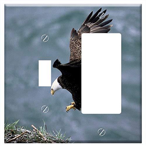 1-Toggle 1-Rocker/GFCI Combination Wall Plate Cover - Eagle Landing Flying Bald White Bird Flight P (Landing Eagle Metal)