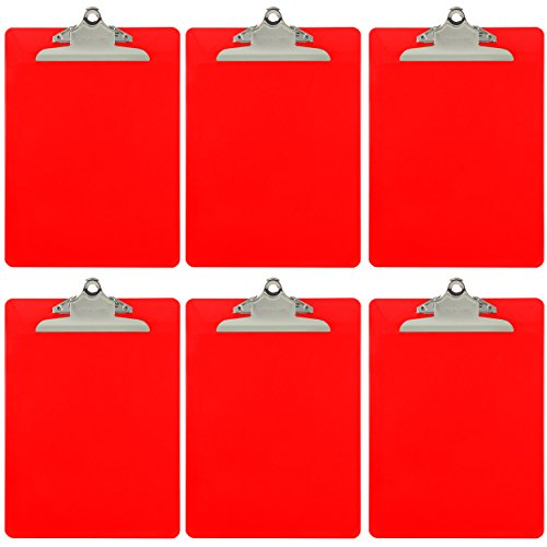 Trade Quest Plastic Clipboard Opaque Color Letter Size Standard Clip (Pack of 6) (Red)