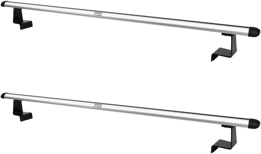 """Kiussi Pick-Up Truck Ladder Racks Work with Soft Roll Up or Retractable Tonneau Covers Not Affect Closing and Opening Two Cross Aluminum Bars Length Adjustable from 55/"""" to 41"""