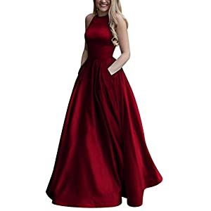 bf87299171 JQLD Women s High Neck Halter Satin Prom Dress 2018 Ball Gown Long Evening  Gown with Pocket Burgundy-A-A US12