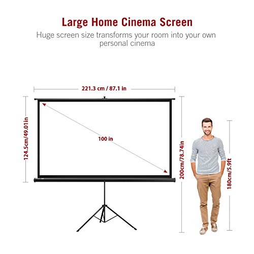 Projector Screen with Stand, TaoTronics Indoor and Outdoor Movie Screen 100 Inch Diagonal 16:9 with Premium Wrinkle-Free Design (Easy to Clean, 1.1 Gain, 160° Viewing Angle and Includes a Carry Bag)