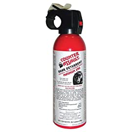 Counter Assault Bear Deterrent 70 Hottest formula allowed by EPA at 2% capsaicin Longest spray time and spray distance of 7.2 seconds; 30 ft. for 8.1 oz. And 9.2 seconds Glow-in-the-dark safety tie