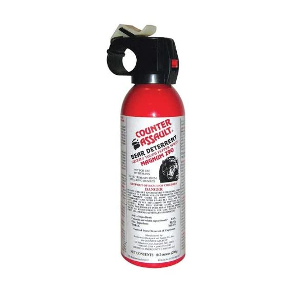 Counter Assault Bear Deterrent 1 Hottest formula allowed by EPA at 2% capsaicin Longest spray time and spray distance of 7.2 seconds; 30 ft. for 8.1 oz. And 9.2 seconds Glow-in-the-dark safety tie