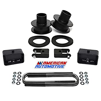 Image of American Automotive F250 F350 Super Duty Lift Kit 4WD 3.5' Front Spring Spacers + 3' Rear Blocks + Shock Extenders