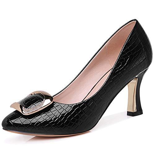 Noir Black De Pointu Escarpins Robe Soirée Glissement Chaton Chaussures Hgdr Toe À Bal La Femmes Talons Pour Bureau Sur 15wUq66C