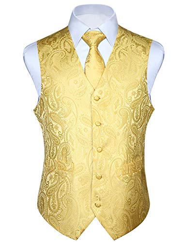 HISDERN Men's Paisley Jacquard Solid Waistcoat & Necktie and Pocket Square Vest Suit Tuxedo Set Yellow