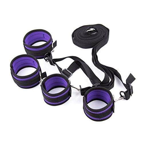 1 Pcs/Lot Purple Under Bed Sex Bondage Restraints Handcuffs Ankle Cuffs Blindfold Adult Sex Game Toys for Couples Without Blindfold