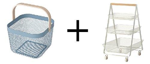 Ikea Basket, blue Size 9 ¾x10 ¼x7 '' and Ikea Utility cart, white Size 22 1/2x15 3/8x33 7/8 ''