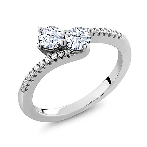 0.90 Ct Round White Topaz Two Stone 925 Sterling Silver Bypass Ring (Ring Size 5) (Stone Ring Two Bypass)