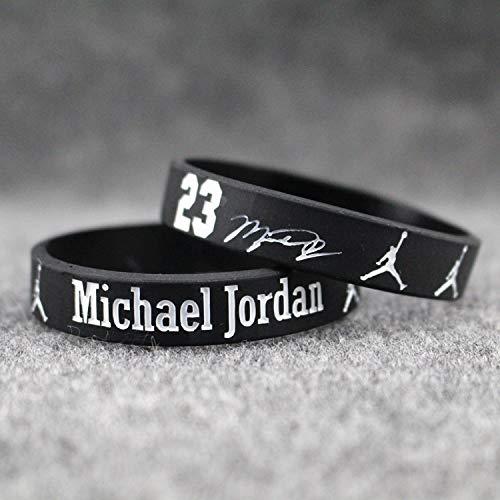 - Basketball Bracelet Bangle Silicone Wristband Fluorescent Luminous Hands Men Man Star Michael Signature (Black one Pair of air Jordans [no.] Message Size