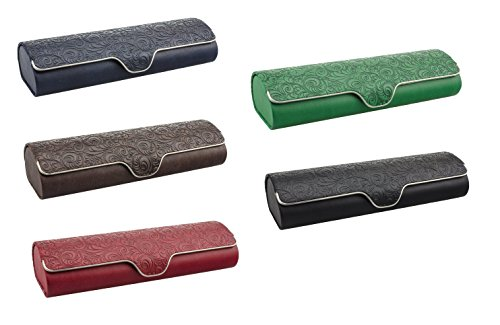 Edison&King Étui à lunettes avec extérieur en simili-cuir orné de motifs et fermeture magnétique, divers coloris au choix noir