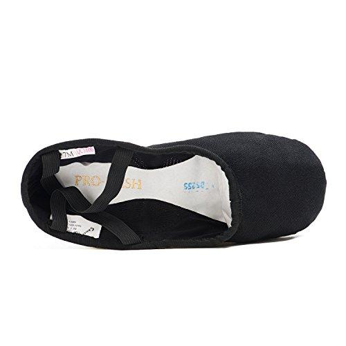 Sansha–Zapatos de Ballet Zapatillas demi-pointes adultos en lienzo modelo 1C pro1C negro