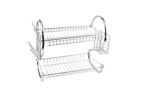 Kitchen organization holder 2 Tier Stainless Steel Dish Drainer Drying Rack US Ship (Green Pot O Gold Glasses)