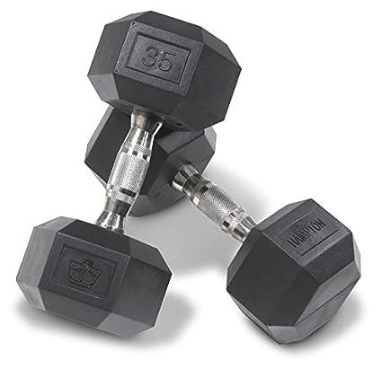 Hampton Fitness dura-bell, pesas hexagonales de caucho 105 – 125 libras. Set