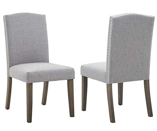 Merax Fabric Dining Chairs Set of 2 with Solid Wood Legs Dining Room Furniture with Nailed Trim (Grey) -