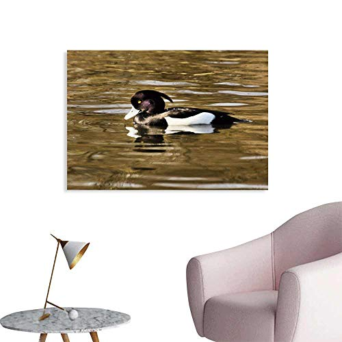 Warm Family Abstract Painting A View of a Tufted Duck Modern Minimalist Atmosphere 32