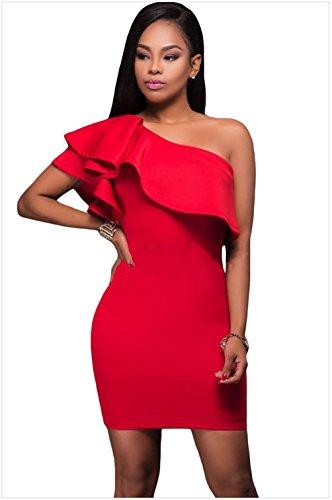 Asymmetric Flounce Dress (Woman The need for shoulder asymmetric billowy flounces half Sau San pencil dresses ,S, red-YU&XIN)