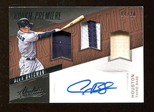 Alex Bregman Autographed Jersey - 2017 Absolute Rookie Premiere Bat 4 20 46637 - Baseball Autographed Game Used Cards