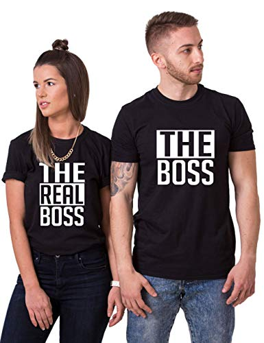 Matching Couple Shirts-The BOSS&The Real BOSS Shirts-His&Her Shirts Black ()