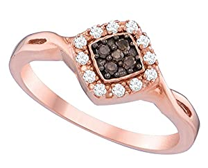 Size 8.5 - 10k Rose Gold Round Chocolate Brown Diamond Cluster Ring (1/5 Cttw)