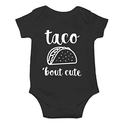 AW Fashions Taco 'Bout Cute - Funny Lil Adorable Tacos Mexican Food Lover - Cute One-Piece Infant Baby Bodysuit (Newborn, Black)