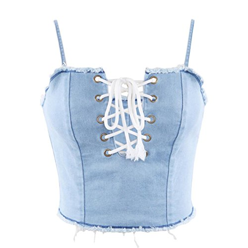 4dae919a7a Amazon.com  Minisoya Women Denim Camisole Casual Tank Top Vest Bralette Off  Shoulder Bustier Lingerie Lace up Bandage Crop Tops  Clothing