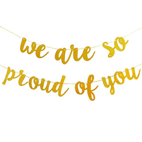 Gold Glittery We are So Proud of You Banner -Graduation Party/Grad Party -