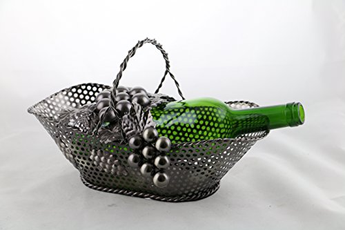 Grapes Wine Metal Bottle (Wine Bodies Grape Vine Basket Metal Wine Bottle Holder, Charcoal)