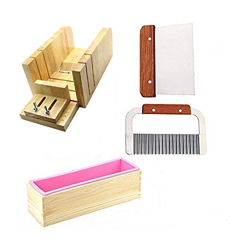Soap Molds Cutters - 6MILES 2Pcs Stainless Steel Wavy and 1Pcs Straight Soap Mold Loaf Garnish Cake Cutter Cutting Tool Home Kitchen Graters Peelers Slicers Knife Set(Adjustable)+ Wood Box