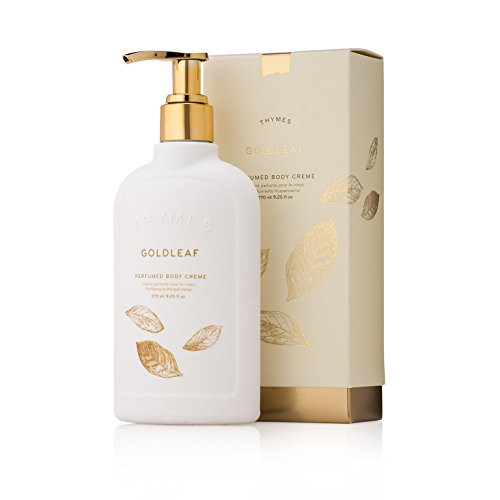 Leaf Gold Thymes - Thymes - Goldleaf Perfumed Body Crème with Pump - Deeply Moisturizing Floral Body Lotion - 9.25 oz