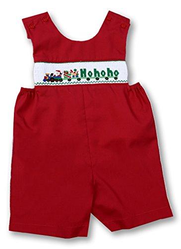 Rosalina-Sir John Little Boy's Santa HO HO HO Train Red Smocked Romper 4T