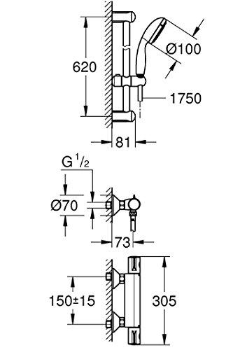 Grohe mitigeur thermostatique douche avec ensemble de douche grohtherm 800 34565000 import - Ensemble douche thermostatique grohe ...