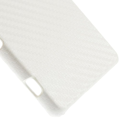 JUJEO Carbon Fiber Leather Coated Hard Shell Cover for Sony Xperia Z3 Compact D5803 M55w - Non-Retail Packaging - White