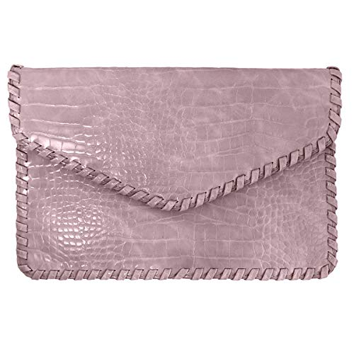 JNB Flat Crocodile Pattern Envelope clutch